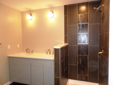 Main Bedroom Full Tiled Bath with His + Her Sinks